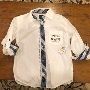 NWT Nautica boys  size 8 white dress shirt